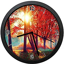 Akalidebaih Autumnal Foggy Park Fall Nature Scenic Scenery Maple Trees Sunbeams Woods-Silent Quartz Movement Wall Clock,Beautiful Gift for Decorating Life -12inch