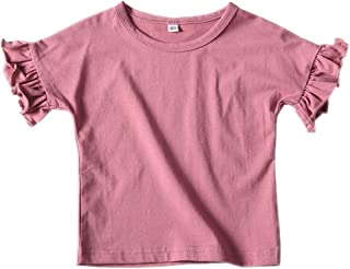Colorful Childhood Summer Girls Ruffles Short Sleeve Tee Shirts Toddler Casual Loose Fit T-Shirt Tops