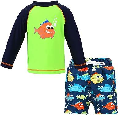 LACOFIA Bañador de Dos Piezas para niños Conjunto de Camisetas y Pantalones de natación para Bebe niños con protección Solar UPF 50+ Secado rapido