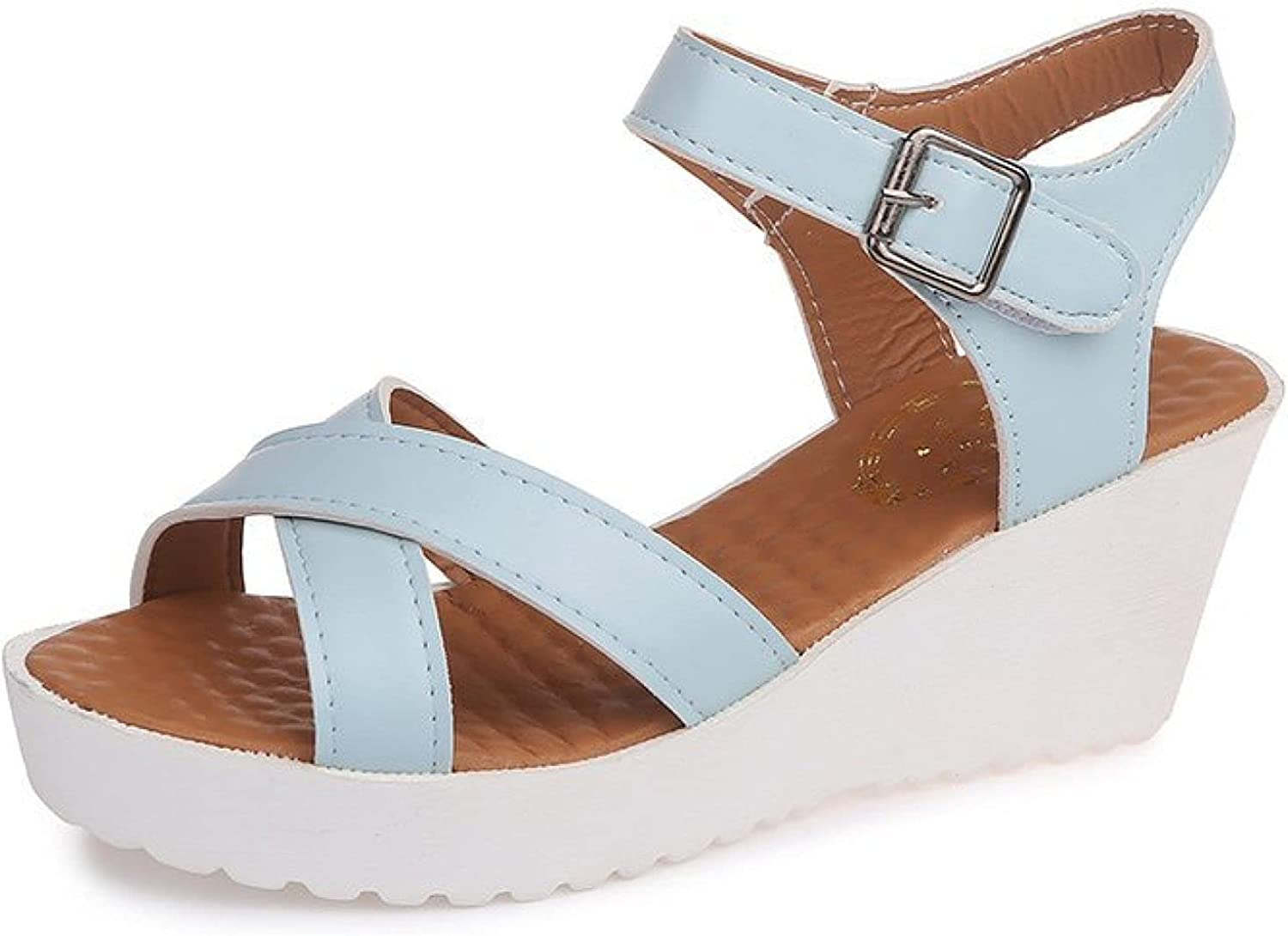 Womens Wedges Sandals Summer Open San Antonio Mall Strap Buckle Challenge the lowest price of Japan Toe Ankle Platfor