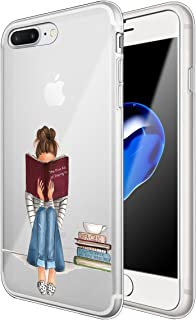 Matop Compatible for iPhone 7 Plus iPhone 8 Plus Case Crystal Clear Ultra Thin Shockproof Protective Soft Silicone Cute TPU Transparent Slim Bumper Cover for iPhone7 Plus/8 Plus(Girl Reading a Book)