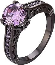 XAHH 18K Black Gold Plated Purple Amethyst CZ Diamond Ring Vintage Engagement Wedding Band for Women Girl