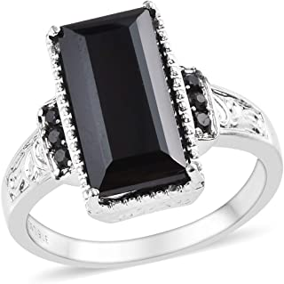 Statement Ring Stainless Steel Baguette Black Spinel Jewelry Size 6 Ct 7.3