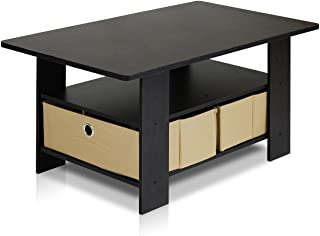 Furinno Coffee Table with Bins, Espresso/Brown