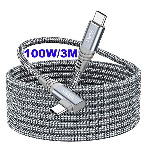 Siwket USB C to USB C Cable 90 Degree [3M] 20V5A/100W Type C PD Fast Charging Cable Braided for MacBook Pro,MacBook Air,iPad Pro 2018,Huaiwei MataBook, Sumsung S20 S10,Note10,Google Pixel 4/3XL-Grey