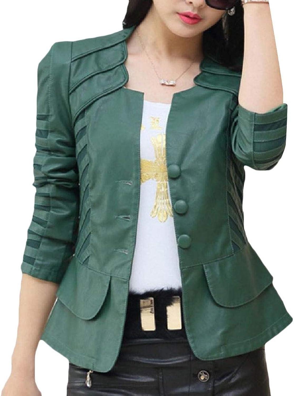Yingshif Women's Oversized Outwear Biker FauxLeather Comfort Jackets