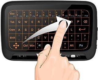 Mini Wirelesse Beleuchtete Tastatur und vollem Touchpad Maus Combo, 2.4Ghz wiederaufladbare Handheld Kabellose Fernbedienung (QWERTY) Keyboard für Android Google TV Box, Xbox 360, Raspberry Pi, Mac