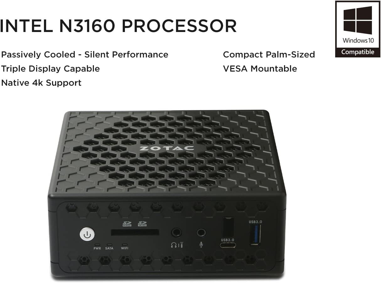 No OS No RAM ZOTAC ZBOX-CI325NANO-U Series Nano Fan-Less Mini PC Intel N3160 Quad-Core CPU Silent Performance Barebone System No SSD