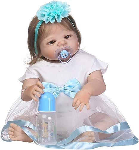 0Miaxudh 46cm wiedergeborenes Babypuppe, Weißhes lebensechtes Vinylsilikon, Kinder begleiten Spielzeug, Geschenk Weiß
