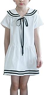 GoGokids 夏 子供服 女児 女の子 ドレス ガールズワンピース 半袖 セーラー 服  丸襟 リボン 学園風 入園式 通学 卒業式ファション