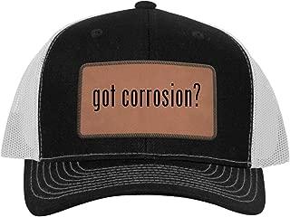 One Legging it Around got Corrosion? - Leather Dark Brown Patch Engraved Trucker Hat
