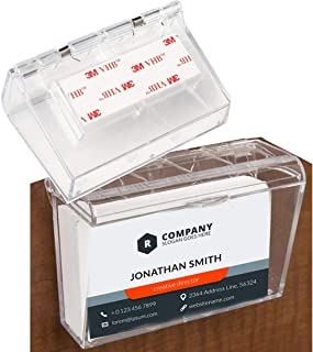 Wall Mounted Acrylic Business Card Holder with Cover   Lid Hinged, Outdoor, Fits 60, Clear