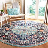 Safavieh Madison Collection MAD447Z Boho Chic Medallion Distressed Non-Shedding Dining Room Entryway Foyer Living Room Bedroom Area Rug, 5' x 5' Round, Black / Teal