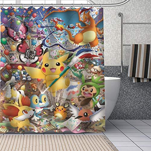Brandless Pokemon Duschvorhänge Badezimmer Vorhang Stoff Waschbares Polyester für Badewanne Art Decor-180 cm x 240 cm