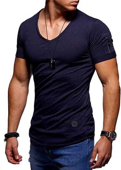 GYMAPE Homme /à Manches Longues//Courtes Beefy T-Shirt Coupe Slim en Coton D/écontract/é Col en V Maillots Basiques