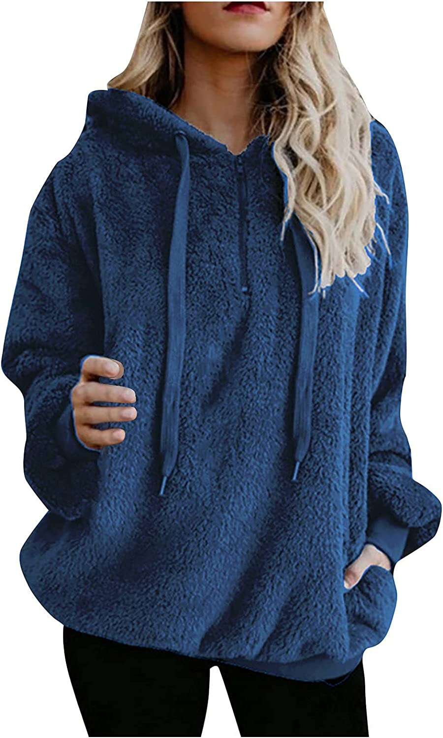 Womens Long Sleeve Deluxe Solid Fuzzy Cardigan San Diego Mall Front Fleece Hooded Open