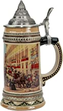 0.6 Liter Ceramic German Beer Stein with Metal Lid