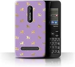 eSwish Phone Case/Cover for Nokia Asha 210 / Prancing Gold Unicorns Design/Magical Princess Pattern Collection