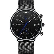 New Mens Watches Fashion Causual Dress Quartz Analog Mesh Stainless Steel Chronograph Sport...