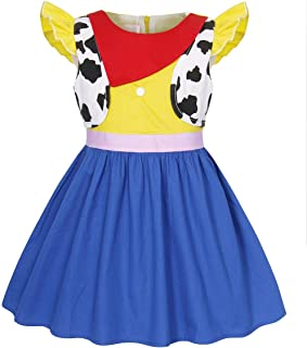 AmzBarley Girls Jessie Costumes Fancy Party Halloween Dress Up Kids Holiday Birthday Outfit Dresses 1-9 Years