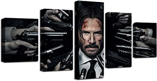 YANGMAN Canvas Wall Art John Wick 2 Movie Keanu Reeves 5 Panels Poster for Home Living Room Office Decor Gift Stretched and Framed Ready to Hang,10x152+10x202+10x251