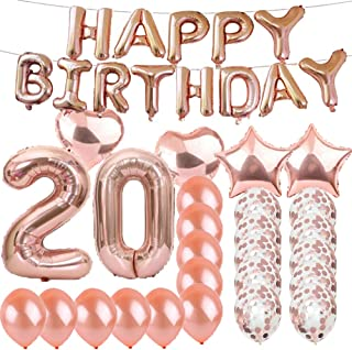 Sweet 20th Birthday Decorations Party Supplies,Rose Gold Number 20 Balloons,20th Foil Mylar Balloons Latex Balloon Decoration,Great 20th Birthday Gifts for Girls,Women,Men,Photo Props