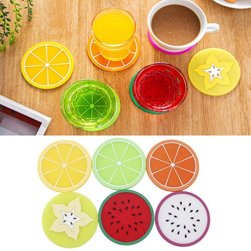 BCHZ 6Pcs Fruit Coaster Colorful Silicone Tea Cup Drinks Holder Wartermelon Orange Mat Placemat Pads Cute