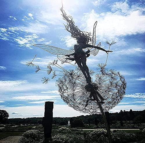 LöWenzahn-Fee-Skulptur, Garten-Silhouettenpfähle Gartenskulpturen Dekorativer Metallpfahl Fee, Feen Und LöWenzahn Tanzen Zusammen (A)