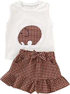 YOUNGER TREE Toddler Kid Baby Girls Summer Outfits Elephant Sleeveless Top Ruffle Plaid Shorts Casual Clothes Set