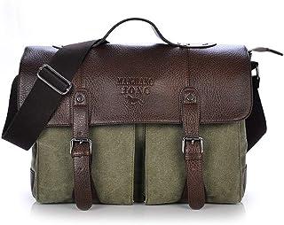 Djyyh Mens Laptop Messenger Bag 14.6 Inch Water Resistant Leather Shoulder Pack Work Computer Briefcase Canvas Vintage Satchel (Color : Green)