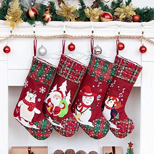 Beyond Your Thoughts Nikolausstiefel zum Befüllen 4er Set Schnee Weihnachtsstrumpf Kamin Christmas Stockings Groß Nikolaus Socke für Kinder Familien 4er Set