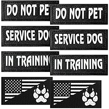 Weewooday 8 Pieces Reflective Dog Vest Patches Removable Tactical Patches for Dog Harness Service Dog in Training and Dog Halter Patches with Printed Dog Paw and Flag  11 x 4 cm/ 4.33 x 1.57 Inch
