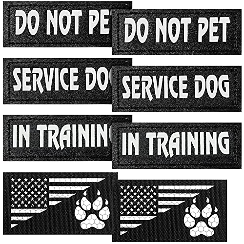 8 Pieces Reflective Dog Harness Patches Removable Service Dog Vest...