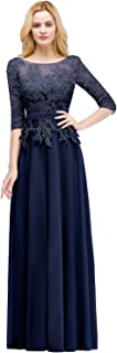 MisShow Applique 3/4 Sleeves Prom Evening Dresses Formal 2019 for Women Lace Chiffon Gowns