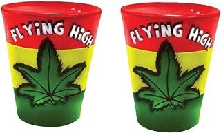 Shot Glasses Marijuana Weed Leaf Airbrushed Shot Glass 2 Oz, Home and Bar Gift - Novelty Shot Glass (2)