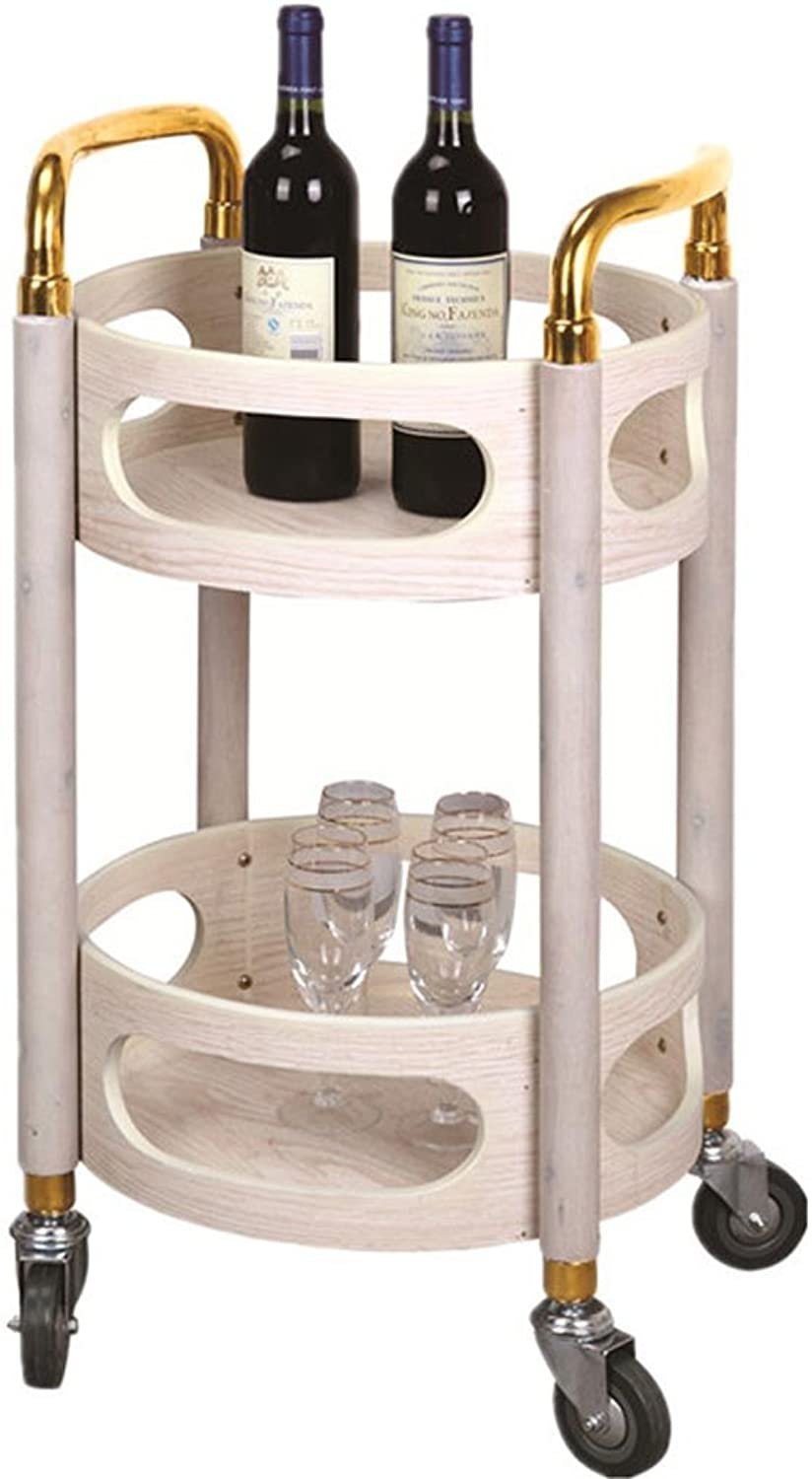 YD Rack Trolley - Round Wine Cart Snack Car Mobile Tea Cart Hotel Wine Reservoir Trolley Beauty Tool Cart  & (color   B, Size   40  40  80cm)