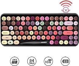 Multi-Device Wireless Bluetooth Keyboard,Mini 84-Key Retro Round Keycaps Wireless Bluetooth Keyboard, Ergonomic Design Compatible with PC, Computer, Laptop