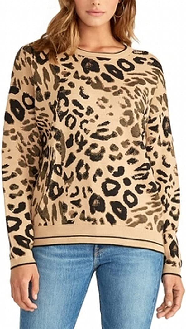 RACHEL Rachel Roy Womens Rikki Animal Print Pullover Sweater Beige XS