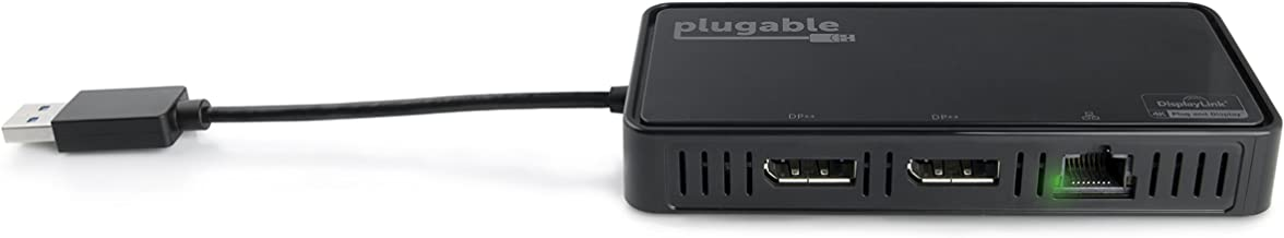Plugable USB 3.0 Dual 4K DisplayPort Adapter with Gigabit Ethernet for Windows (Supports Two DisplayPort Displays up to 3840x2160@60Hz, Windows 10, 8.1 & 7)