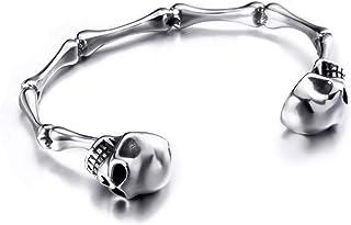 Elfasio قابل للتعديل حجم الرجال الجمجمة سوار الفولاذ المقاوم للصدأ العظام العظام الفضة الكفة السائق أساور