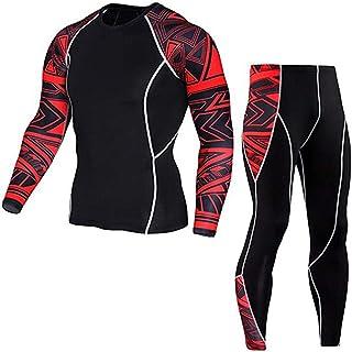 طقم تمارين رياضية للرجال للجري واللياقة البدنية، سروال وقميص طويل الاكمام، طقم من قطعتين - طقم للتمرين
