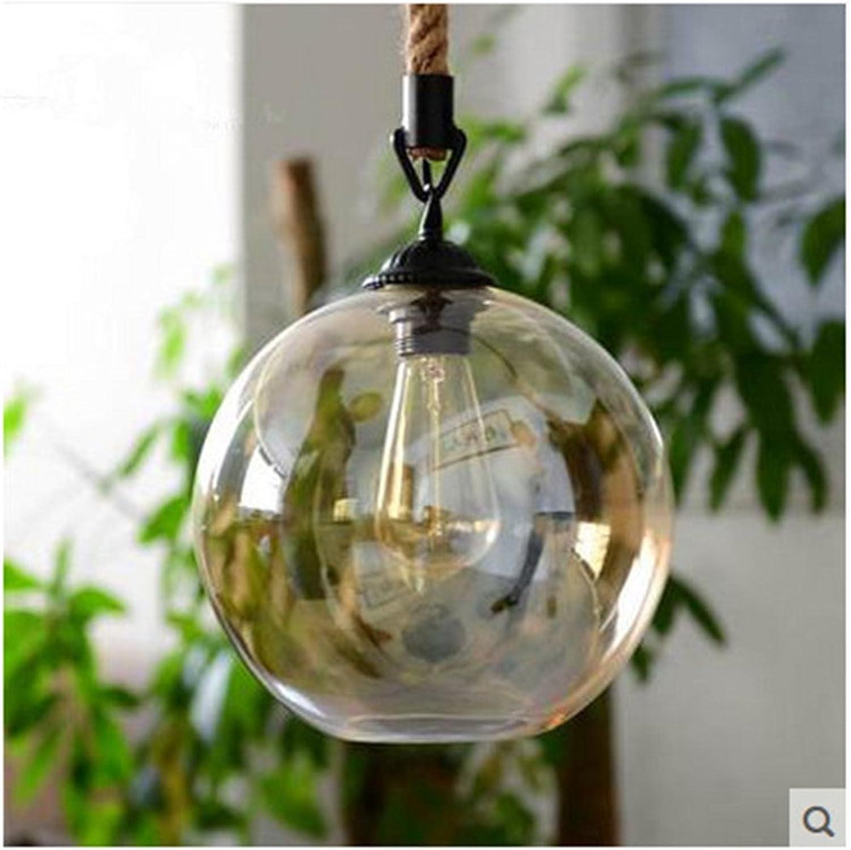Sparkling FRD Moderne amerikanische Hanf Seil Retro Beleuchtung Bar Restaurant Lampe Wohnzimmer personalisierte kreative Glas Bekleidungsgeschft Kronleuchter,Durchmesser 20cm