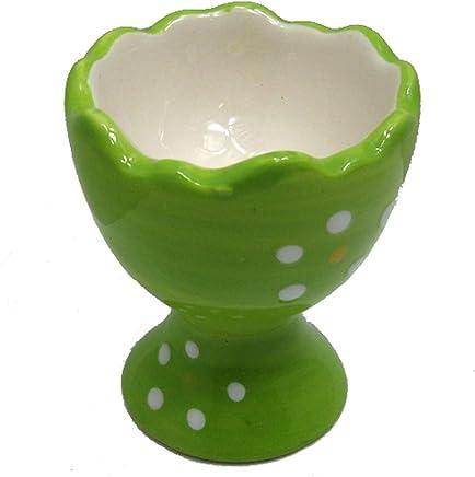 Preisvergleich für Land-Haus-Shop Eierbecher aus Keramik in grün, Oster Ei Eier Becher (1 Stück), für Küche, Ostern, Deko (LHS)
