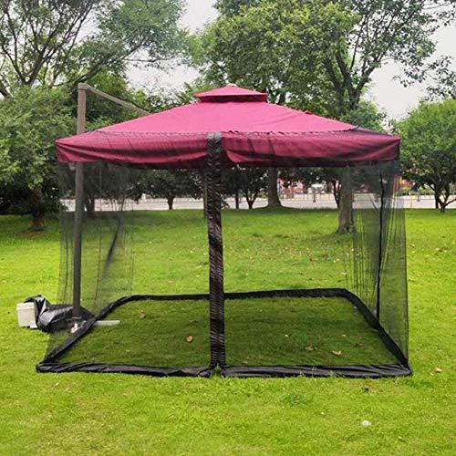 NHY Fyrkantigt myggnät för parasoll flygnät Mückennetz, svart, dubbeldörr, myggnät för paviljong insektsskydd, med dragkedja, 3 m x 3 m x 2,3 m,