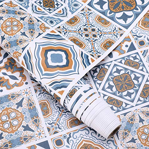 LC&TEAM Fliesen Folie Fliesenaufkleber Küche Folie Mosaikfliesen 61X500CM aus PVC Klebefolie für Möbel Wandaufkleber Küchenfolie wischbar ohne Geruch für Küche/Badezimmer/Küchenschrank