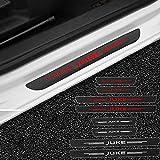 QUXING 4 Piezas Fibra de Carbon Umbral Puerta Decoración Pegatina, para Nissan Juke Nismo 2016-2021 Cochepedal Deumbral Pedal Impermeable Protección