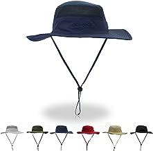 HAODIAN Wide Brim Bucket Sun Hat with Chin Strap UPF 50+ Mesh Fishing Boonie Cap for Women Men