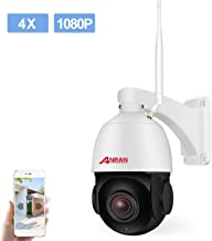 PTZ Wireless WiFi Security IP Camera 1080P HD Pan Tilt 4XOptical Zoom Auto Focus Home Surveillance Dome Weatherproof in/Outdoor Camera with 32GB Micro SD Card,Two-Way Audio,Support 2.4GHZ WiFi ANRAN