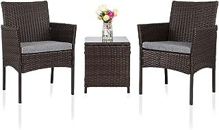 Oshion Patio Porch Furniture Set of 3 PES Rattan Wicker...