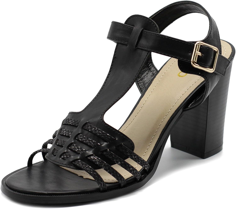 Ollio Womens shoes Chunky High Heel Braided T-Strap Sandal